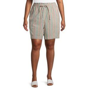 NWT Terra & Sky High Waisted Linen Shorts